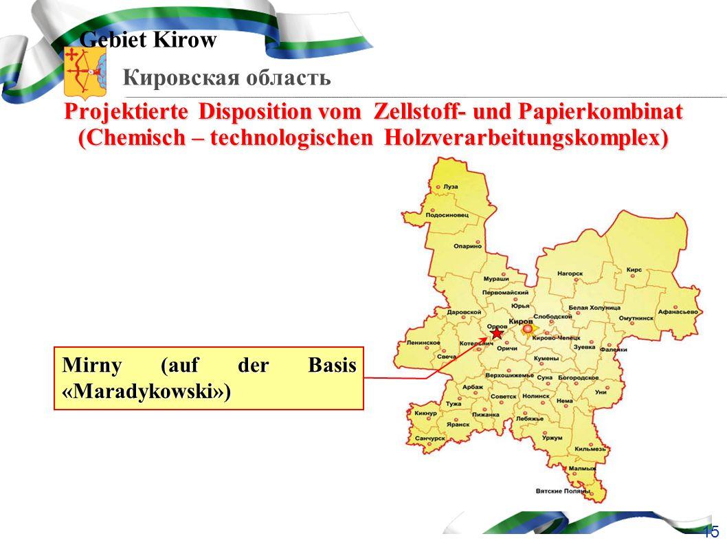 Gebiet Kirow Projektierte Disposition vom Zellstoff- und Papierkombinat (Chemisch – technologischen Holzverarbeitungskomplex)