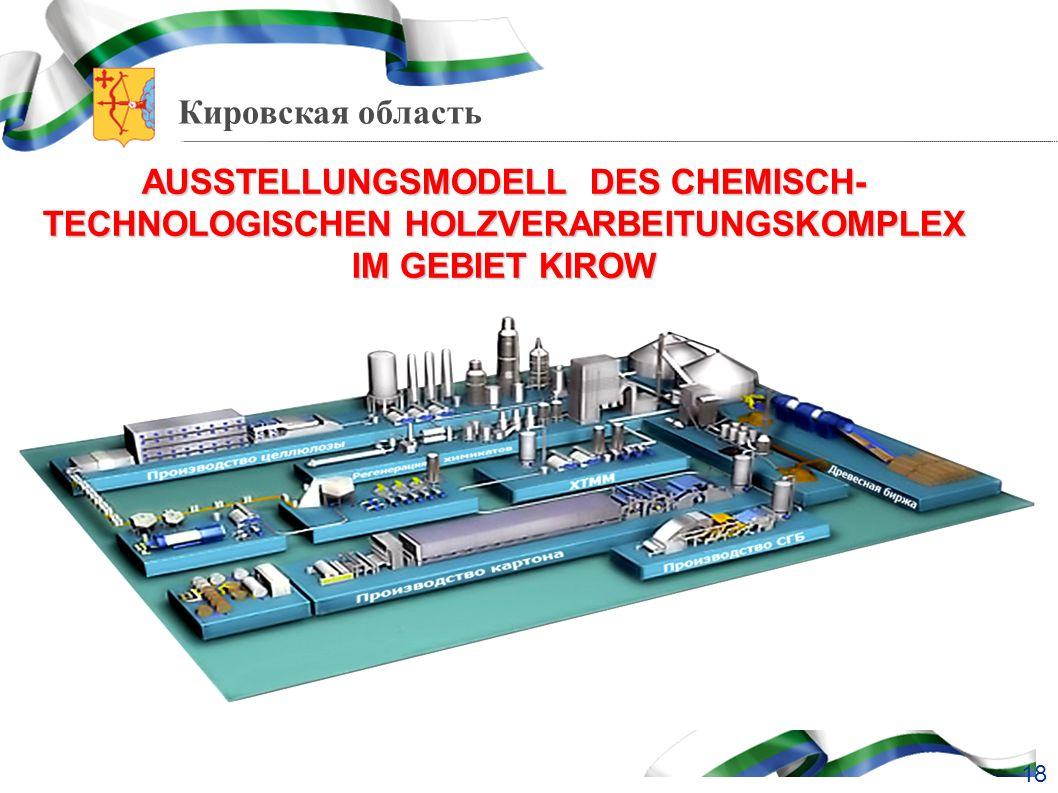 AUSSTELLUNGSMODELL DES CHEMISCH-TECHNOLOGISCHEN HOLZVERARBEITUNGSKOMPLEX IM GEBIET KIROW