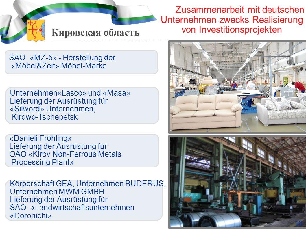 Zusammenarbeit mit deutschen Unternehmen zwecks Realisierung von Investitionsprojekten