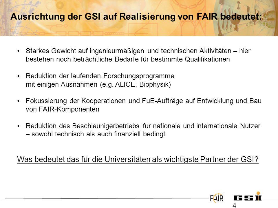 Ausrichtung der GSI auf Realisierung von FAIR bedeutet: