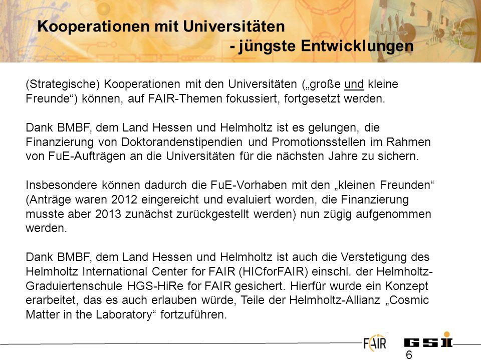 Kooperationen mit Universitäten - jüngste Entwicklungen