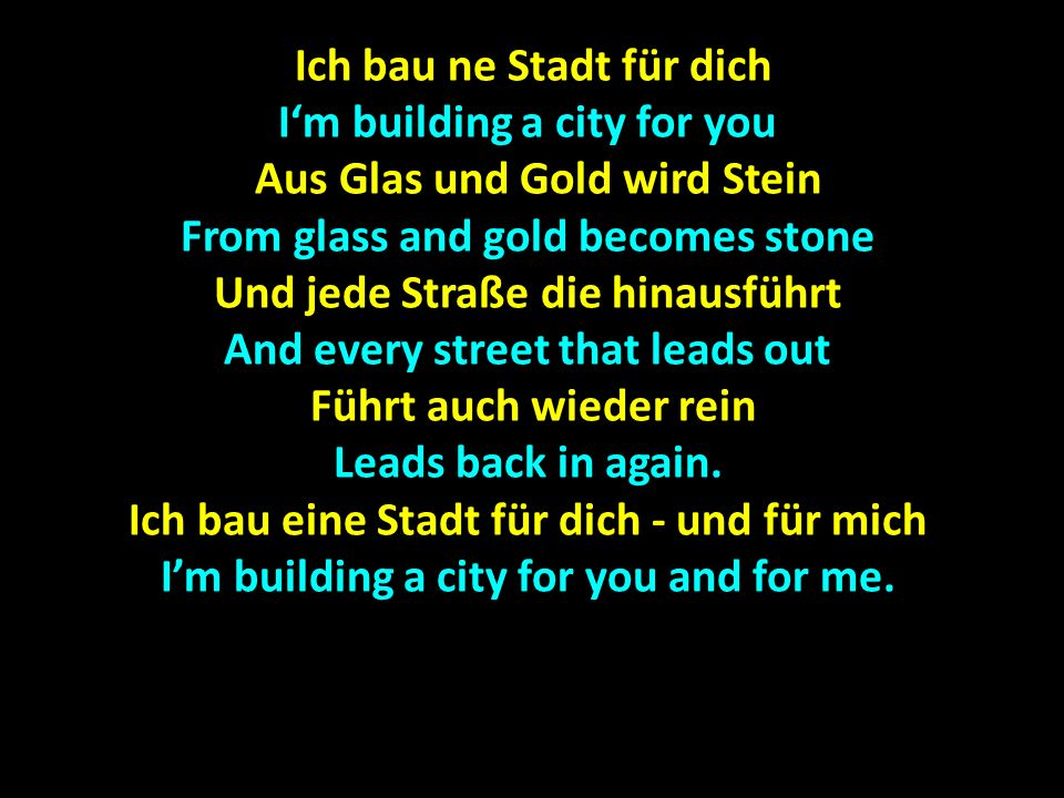 Ich bau ne Stadt für dich I'm building a city for you