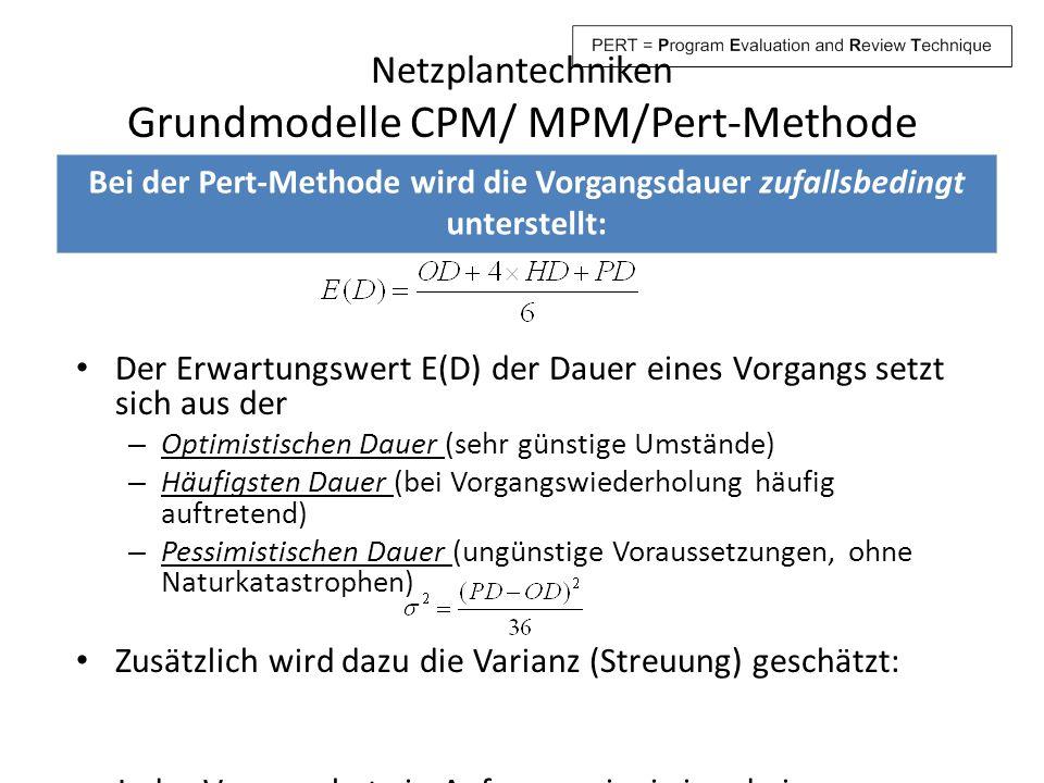 Netzplantechniken Grundmodelle CPM/ MPM/Pert-Methode