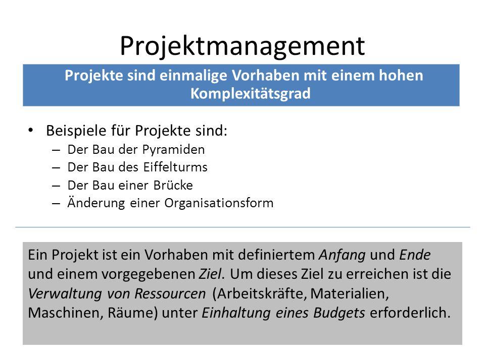 Projekte sind einmalige Vorhaben mit einem hohen Komplexitätsgrad