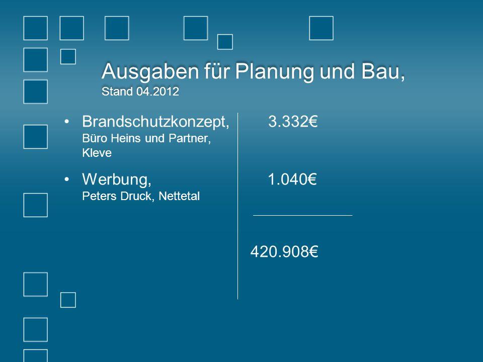 Ausgaben für Planung und Bau, Stand 04.2012