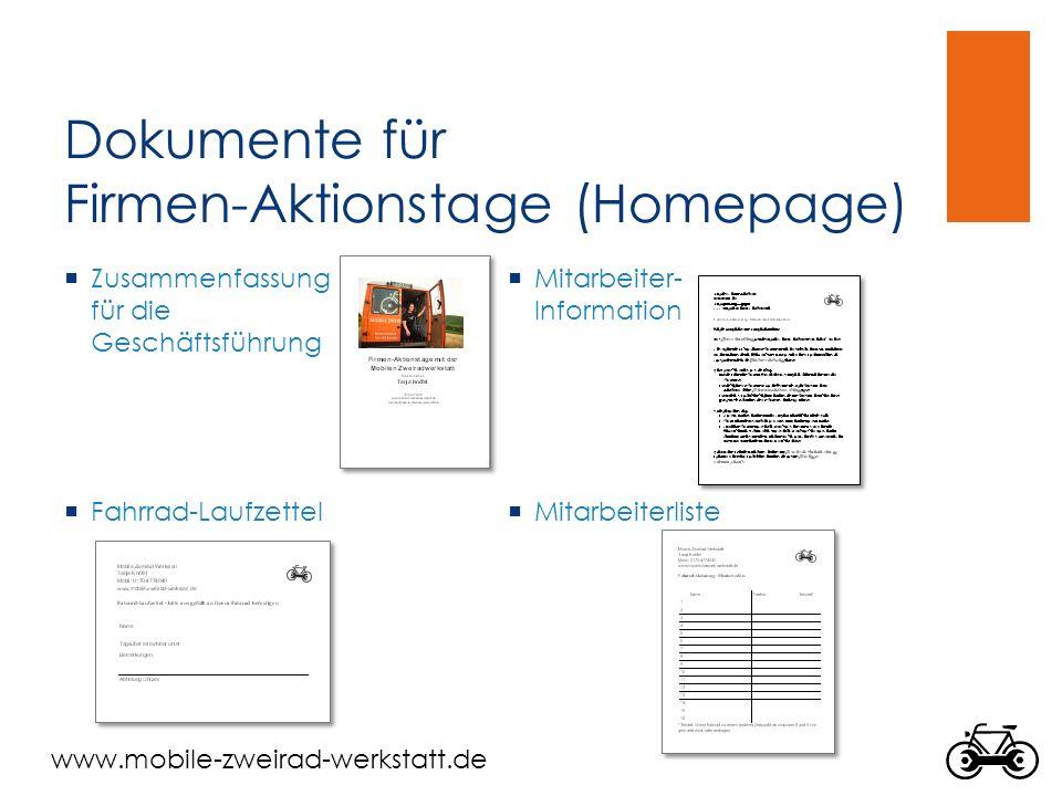 Dokumente für Firmen-Aktionstage (Homepage)