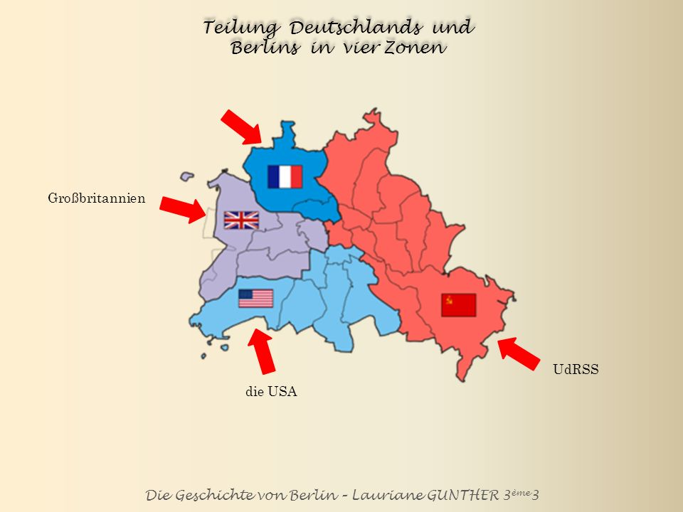 Teilung Deutschlands und Berlins in vier Zonen