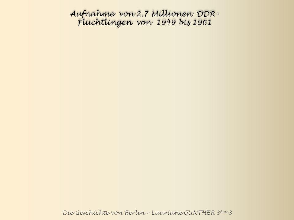 Aufnahme von 2.7 Millionen DDR-Flüchtlingen von 1949 bis 1961