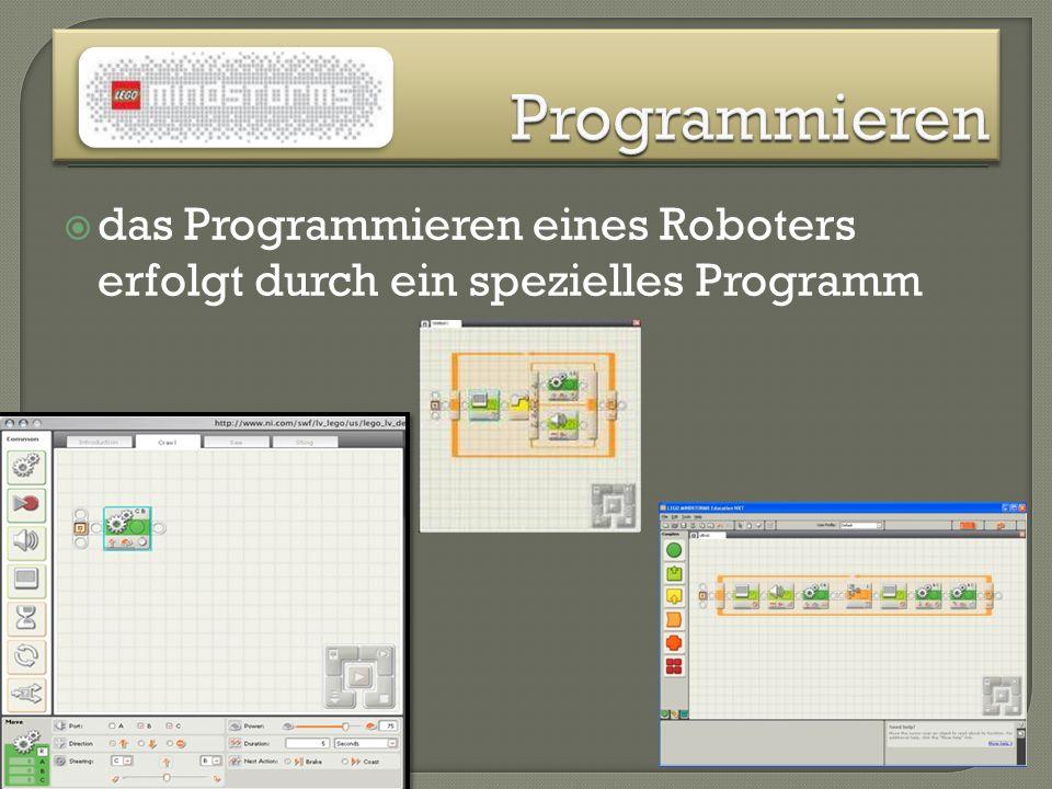 Programmieren das Programmieren eines Roboters erfolgt durch ein spezielles Programm