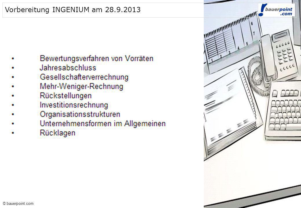 Vorbereitung INGENIUM am 28.9.2013