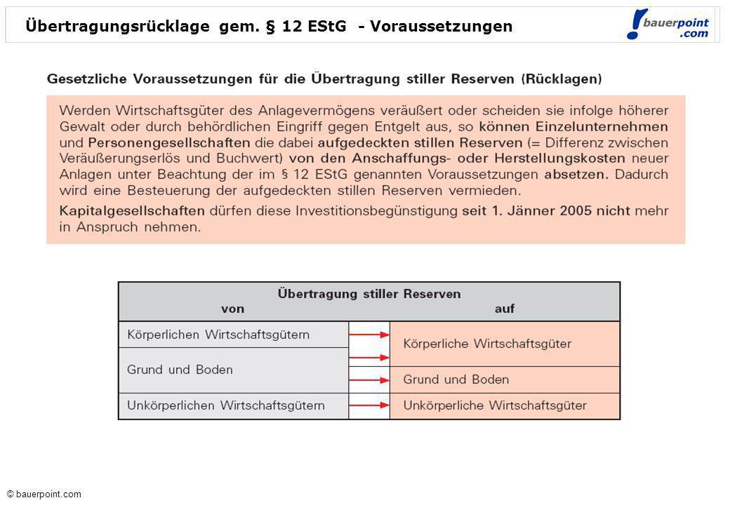 Übertragungsrücklage gem. § 12 EStG - Voraussetzungen