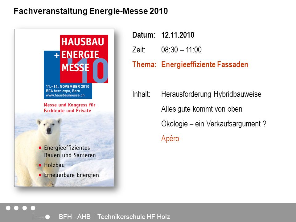 Fachveranstaltung Energie-Messe 2010