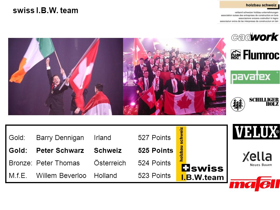 swiss I.B.W. team Gold: Barry Dennigan Irland 527 Points