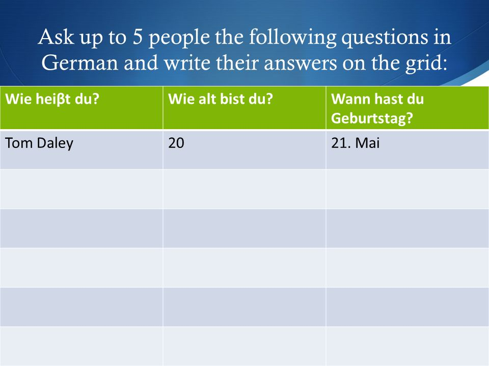 Ask up to 5 people the following questions in German and write their answers on the grid: