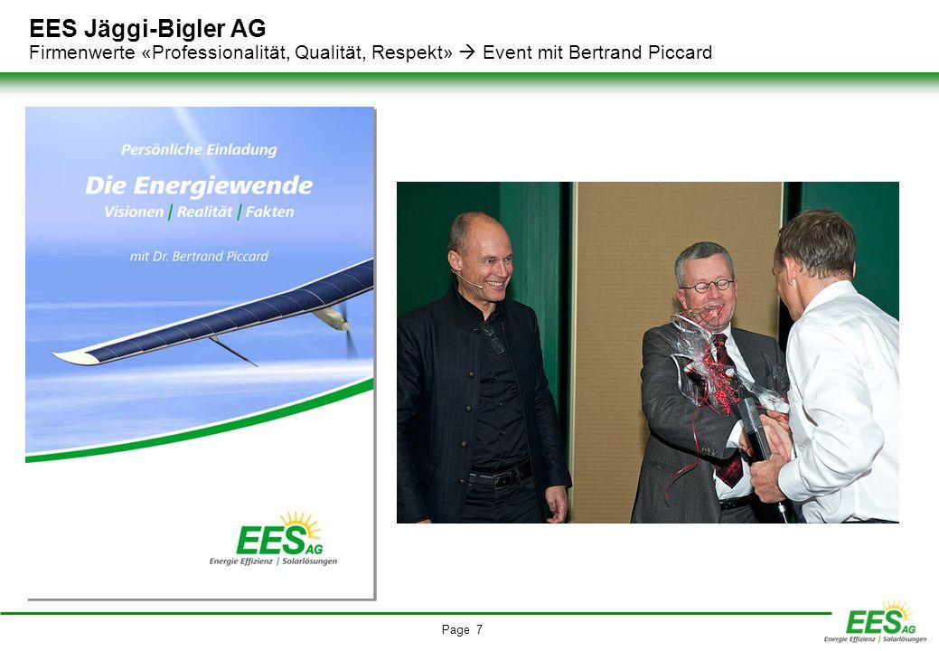 EES Jäggi-Bigler AG Firmenwerte «Professionalität, Qualität, Respekt»  Event mit Bertrand Piccard