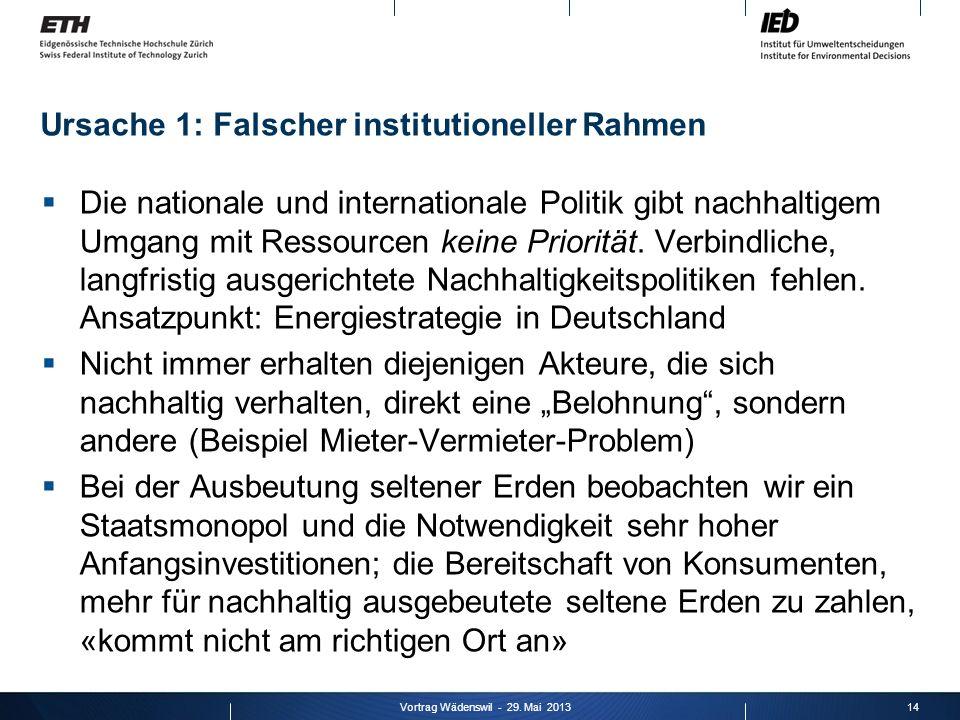 Ursache 1: Falscher institutioneller Rahmen