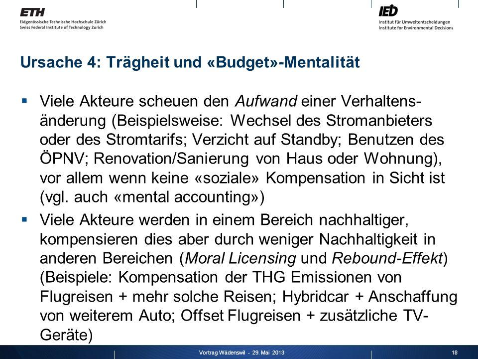 Ursache 4: Trägheit und «Budget»-Mentalität