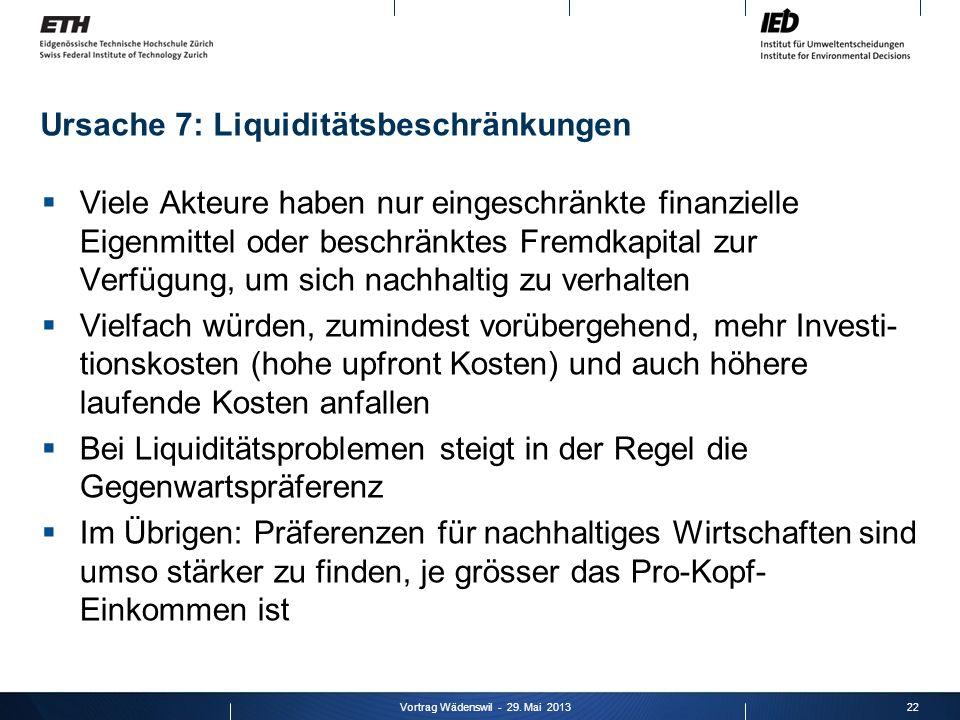 Ursache 7: Liquiditätsbeschränkungen