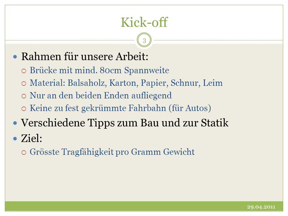 Kick-off Rahmen für unsere Arbeit: