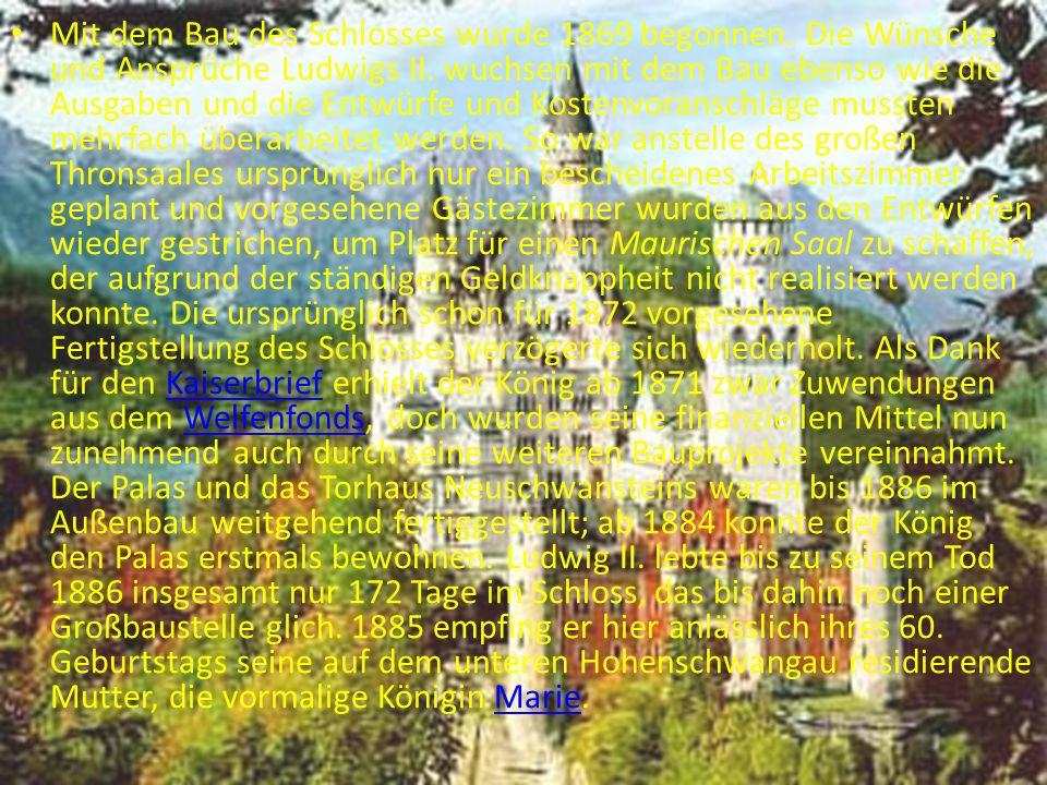 Mit dem Bau des Schlosses wurde 1869 begonnen