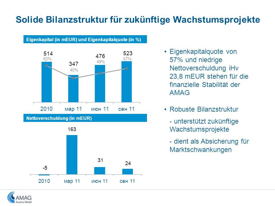 Solide Bilanzstruktur für zukünftige Wachstumsprojekte