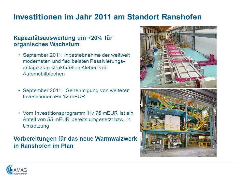 Investitionen im Jahr 2011 am Standort Ranshofen