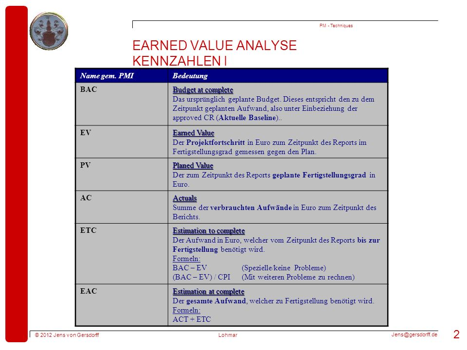 Earned Value Analyse Kennzahlen I