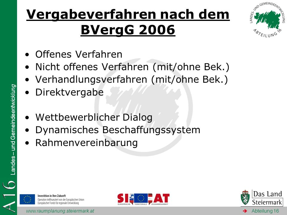 Vergabeverfahren nach dem BVergG 2006