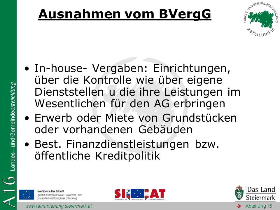 Ausnahmen vom BVergG
