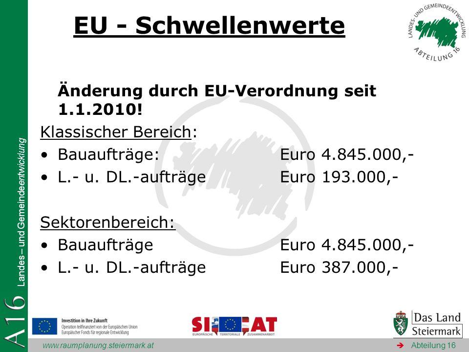 EU - Schwellenwerte Änderung durch EU-Verordnung seit 1.1.2010!