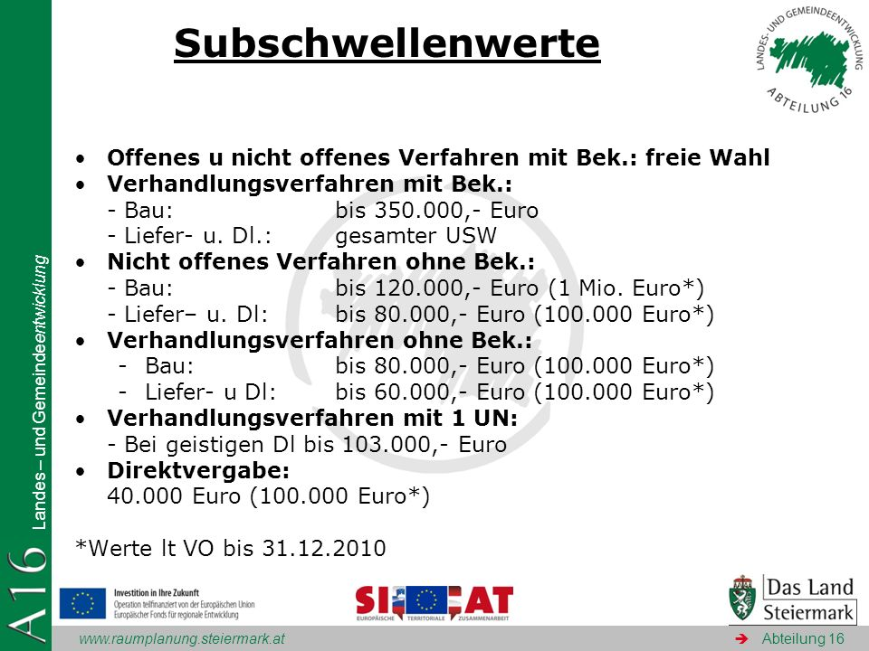 Subschwellenwerte Offenes u nicht offenes Verfahren mit Bek.: freie Wahl. Verhandlungsverfahren mit Bek.: