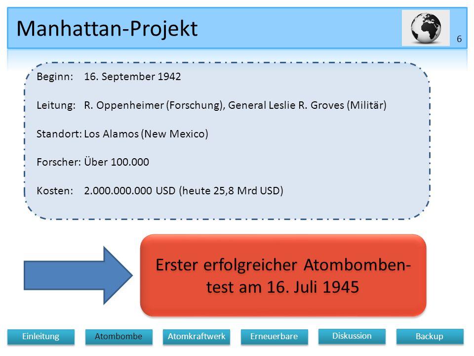 Erster erfolgreicher Atombomben- test am 16. Juli 1945