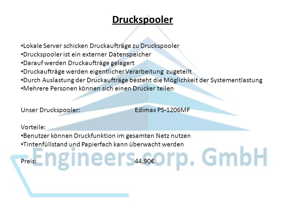 Druckspooler Lokale Server schicken Druckaufträge zu Druckspooler