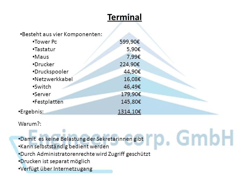 Terminal Besteht aus vier Komponenten: Tower Pc 599,90€ Tastatur 5,90€