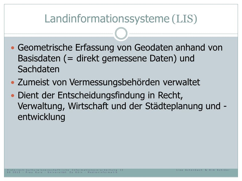 Landinformationssysteme (LIS)