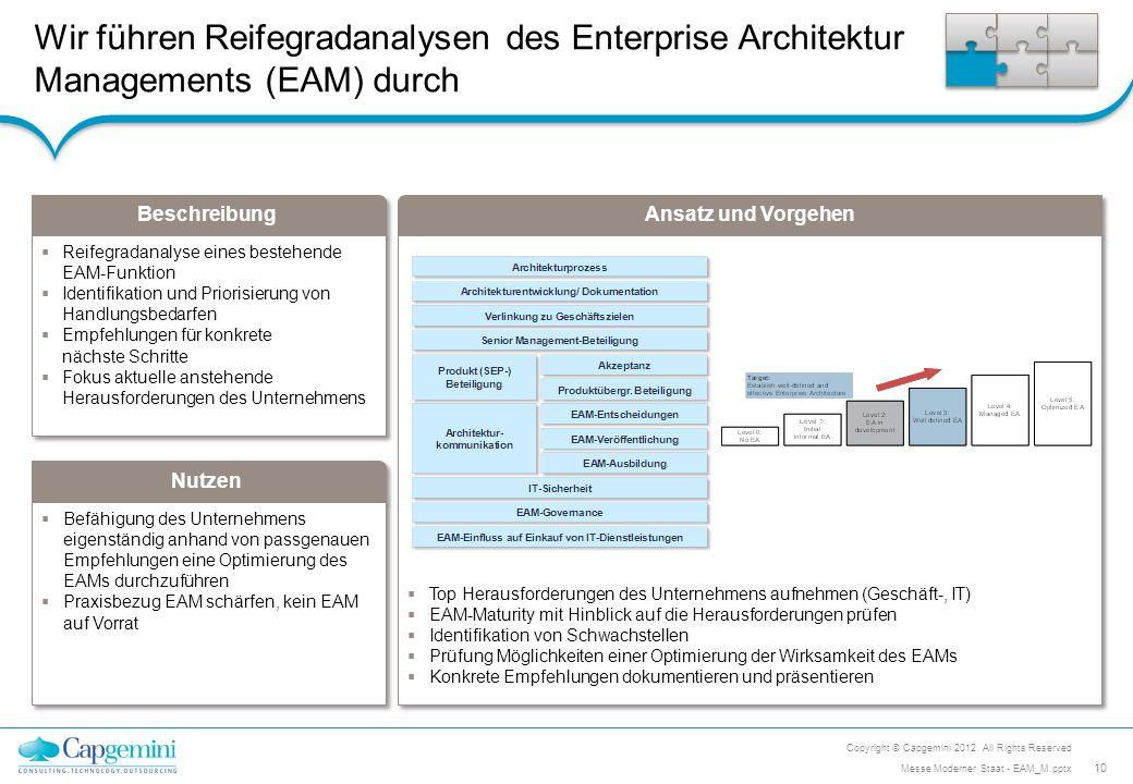 Wir führen Reifegradanalysen des Enterprise Architektur Managements (EAM) durch