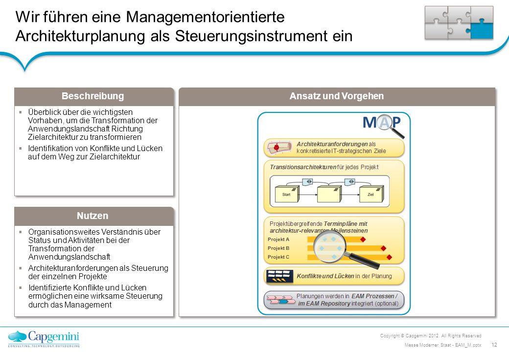 Wir führen eine Managementorientierte Architekturplanung als Steuerungsinstrument ein