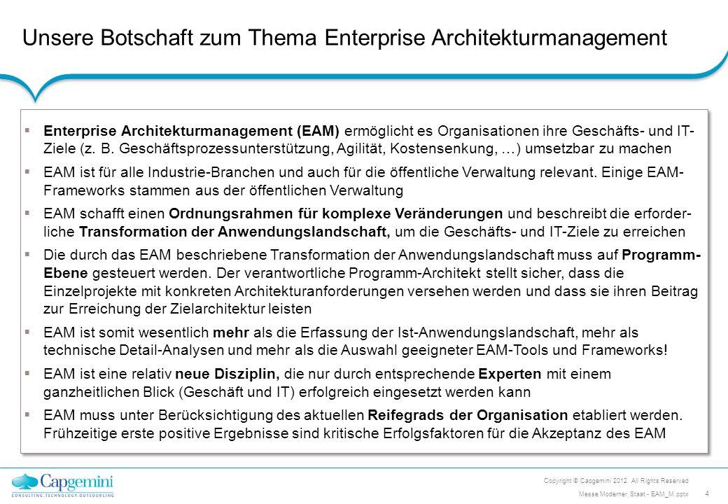 Unsere Botschaft zum Thema Enterprise Architekturmanagement