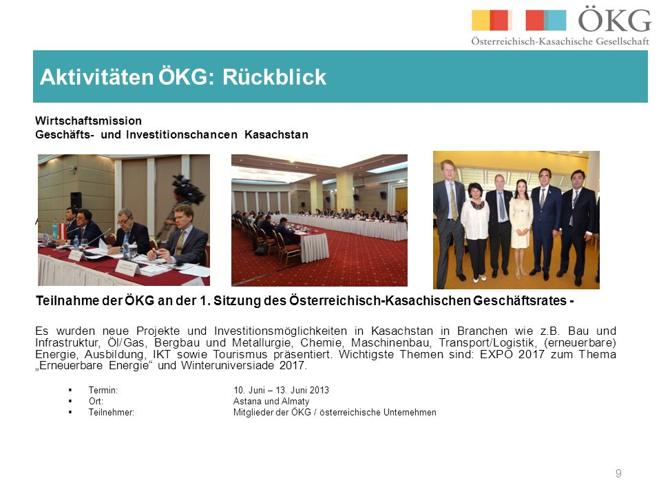 Aktivitäten ÖKG: Rückblick