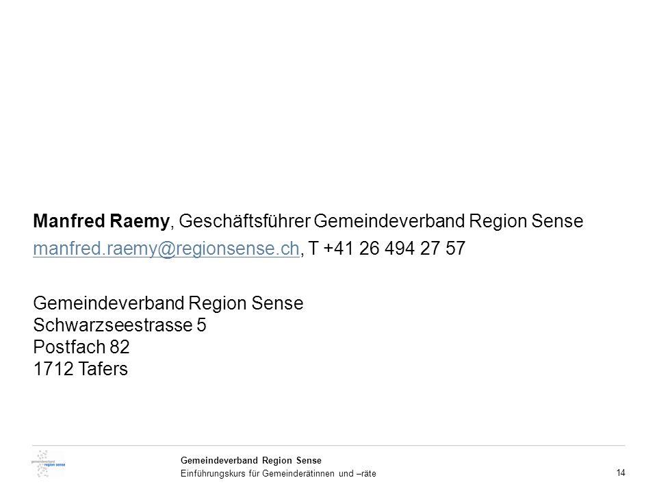 Manfred Raemy, Geschäftsführer Gemeindeverband Region Sense