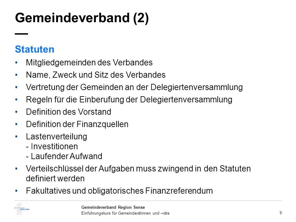 Gemeindeverband (2) — Statuten Mitgliedgemeinden des Verbandes