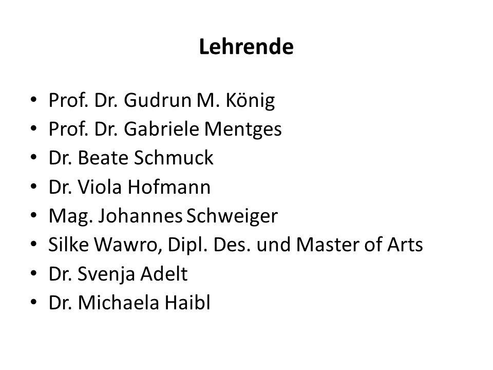 Lehrende Prof. Dr. Gudrun M. König Prof. Dr. Gabriele Mentges