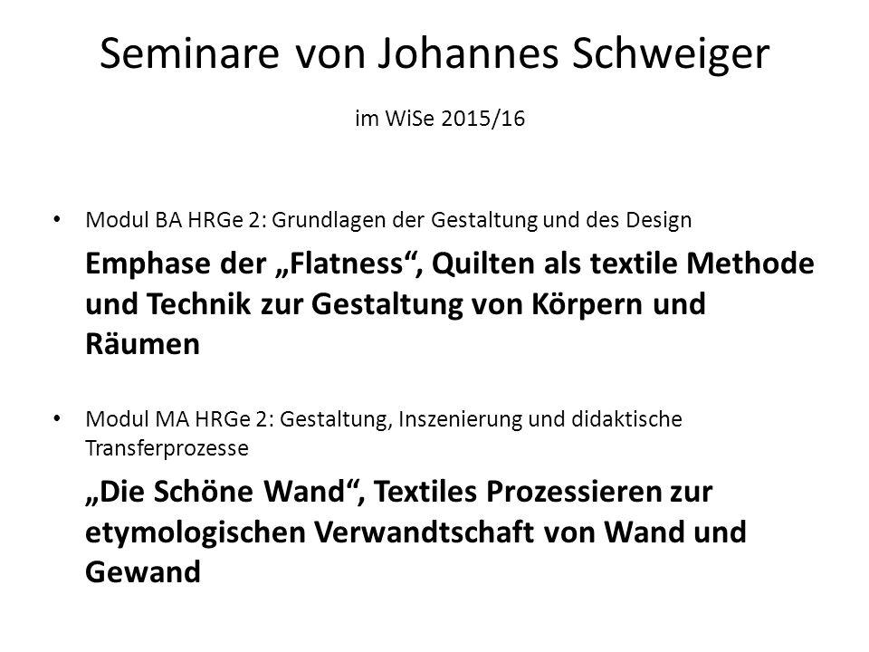 Seminare von Johannes Schweiger im WiSe 2015/16