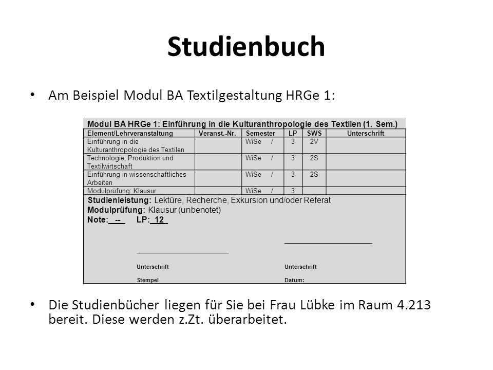 Studienbuch Am Beispiel Modul BA Textilgestaltung HRGe 1: