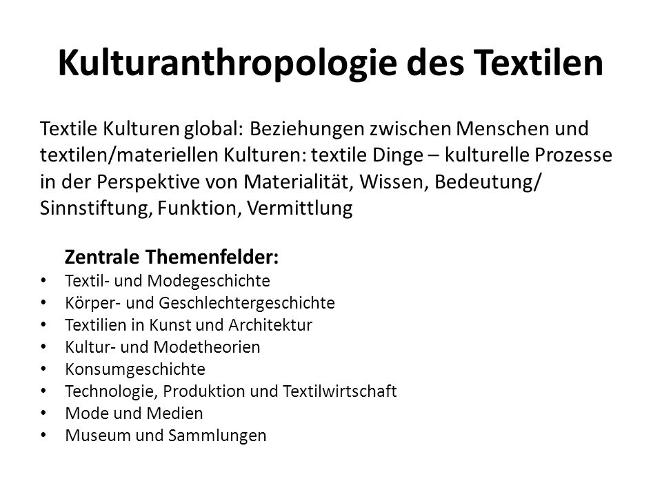 Kulturanthropologie des Textilen