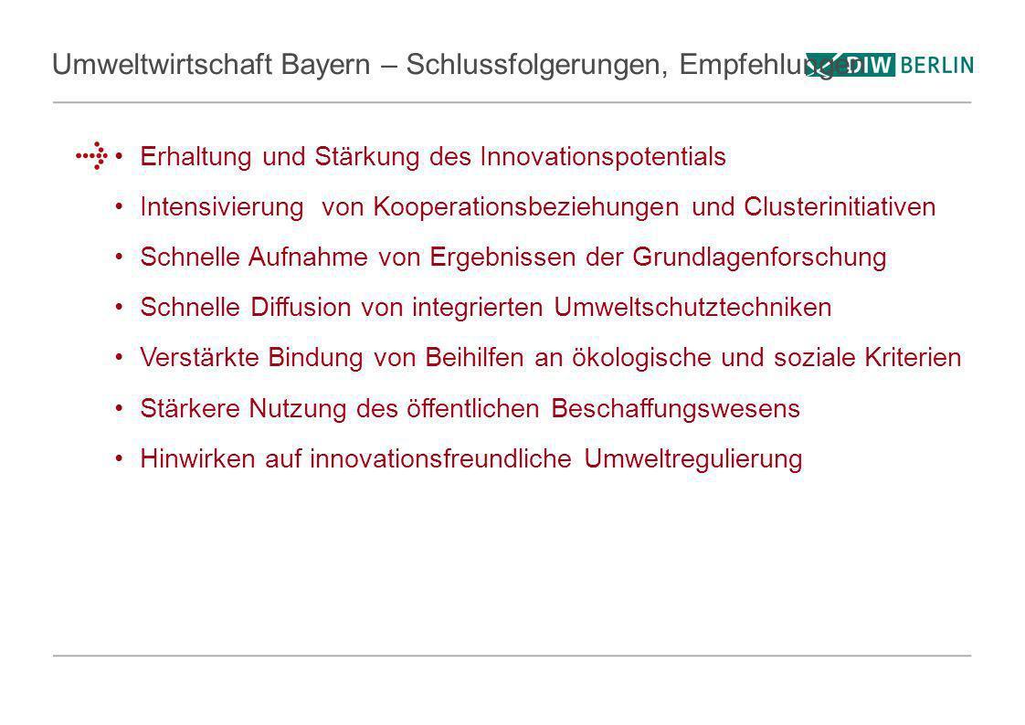 Umweltwirtschaft Bayern – Schlussfolgerungen, Empfehlungen