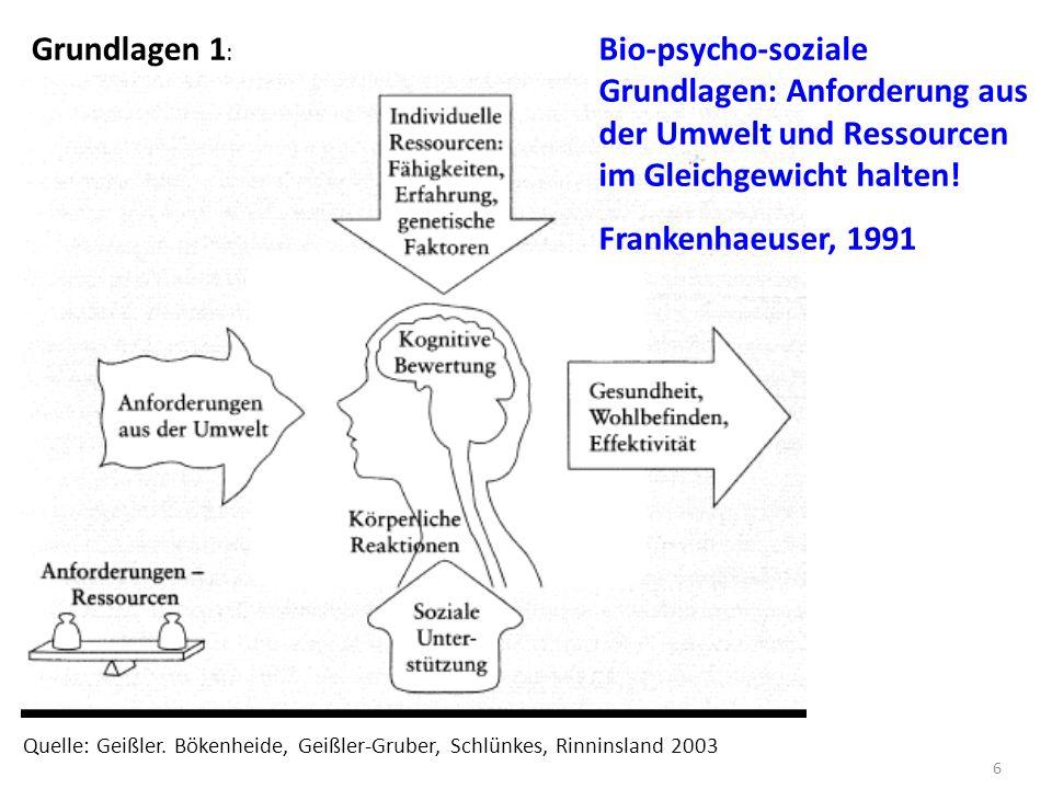 Grundlagen 1: Bio-psycho-soziale Grundlagen: Anforderung aus der Umwelt und Ressourcen im Gleichgewicht halten!