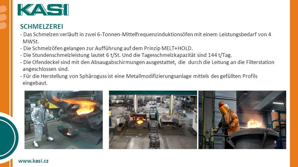 SCHMELZEREI - Das Schmelzen verläuft in zwei 6-Tonnen-Mittelfrequenzinduktionsöfen mit einem Leistungsbedarf von 4.