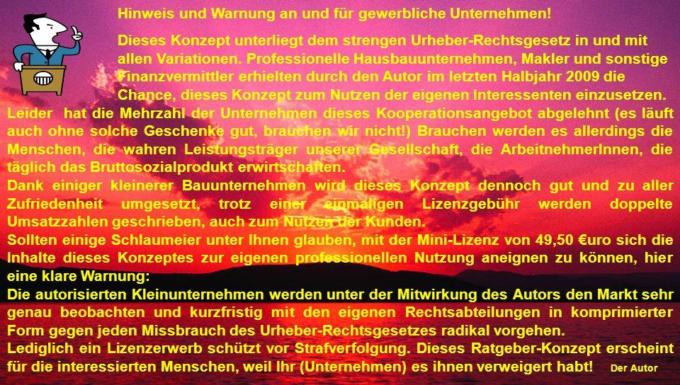 Hinweis und Warnung an und für gewerbliche Unternehmen!