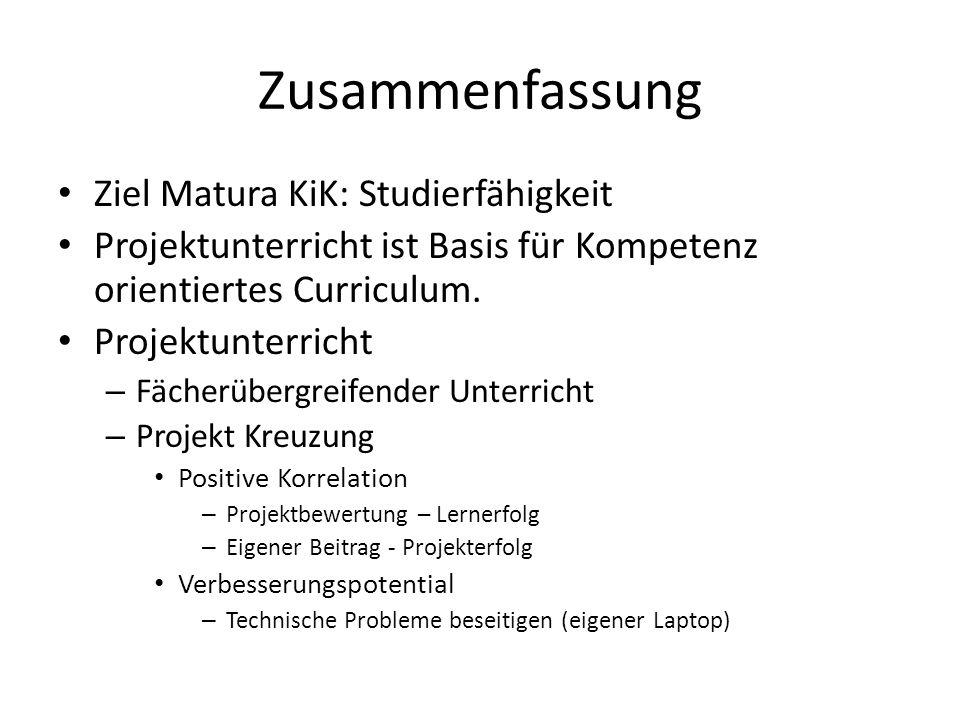 Zusammenfassung Ziel Matura KiK: Studierfähigkeit